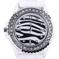 HDE Women's Fashionable Zebra Pattern & Rhinestone Encrusted