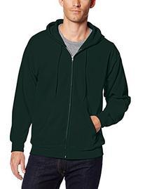 Hanes Men's Full Zip EcoSmart Fleece Hoodie, Deep Forest,