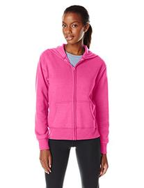 Hanes Women's Full Zip Fleece Hoodie, Sizzling Pink, Small